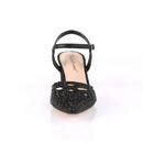Fabulicious FAYE-06 Block Heel Pointed Toe Open Back Ankle Strap Pump w/ Rhinestone Studded Vamp 2 3/4