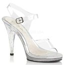Fabulicious FLAIR-408MG Platform Ankle Strap Sandal Featuring Mini Iridescent Glitters on the Entire Bottom