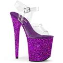 Pleaser FLAMINGO-808LG Platform Ankle Strap Sandal Featuring Holographic Glitters Covering the Entire Platform Bottom