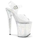 Pleaser FLAMINGO-808MMG Platform Ankle Strap Sandal Featuring Mini Iridescent Glitters on the Entire Upper & Platform Bottom