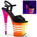 Pleaser FLAMINGO-809UVLN Platform Ankle Strap Sandal Featuring Neon UV Reactive Bottom W/Lines