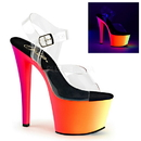 "Pleaser RAINBOW-308UV Platforms (Exotic Dancing) : 7"" - 7 1/2"" Heel, 7"