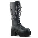Demonia RANGER-303 Unisex Platform Shoes & Boots Platform Lace-Up Front Knee High Boot Featurning Silver Chains & Studded Back Strap w/ O-Rings, Inside Zip Closure 3 3/4