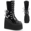 Demonia SWING-120 Platform Wedge Double D-Ring Lace-Up Front Mid Calf Boot 5 1/2