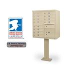 Postal Products Unlimited N1029595 12-Door F-Spec Cluster Box Unit with Pedestal, Sandstone