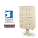 Postal Products Unlimited N1029597 13-Door F-Spec Cluster Box Unit with Pedestal, Sandstone