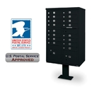Postal Products Unlimited N1031543 16 Door F Spec Cluster Box Unit with Pedestal, Black