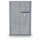 Postal Products Unlimited N1034000 16 Door Standard 4C Mailbox with 2 Parcel Lockers, Anodized Aluminum