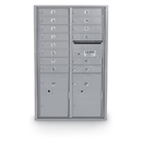 Postal Products Unlimited N1034002 14 Door Standard 4C Mailbox with 2 Parcel Door, Silver Powder Coat