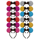 Toptie 12 Pieces Mouse Ears Hair Headband, Hair Hoop for Party Supplies and Daily Accessories, Assorted Colors