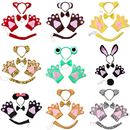 TopTie Halloween Animal Costume Accessories Set of 4: Headband Bow Tie Gloves Tail Party Costume Accessories