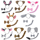 TOPTIE Animal Ears Headband Bow Tie Tail Zoo Jungle Safari Dress up Accessories