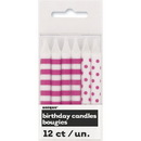 Partypro 19241 Hot Pink Stripe-Dot Candles