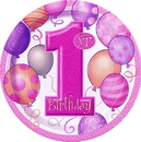 Partypro 23885 First Birthday Girl Dinner Plate (9