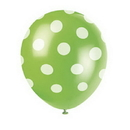 Partypro 57591 Lime Green Dots Latex Balloons