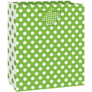 Unique 64421 Lime Green Dots Giftbag-Med