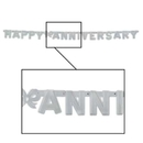 HAPPY ANNIVERSARY SILVER JOINTED BANNER