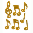 Beistle 54880 Gold Plastic Musical Notes
