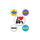 80'S DECADE PARTY BUTTONS - ASSORTED
