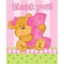 Partypro  Bears 1St Birthday Girl Thank You