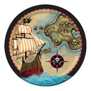 Creative Converting 425969 Pirate'S Map Dinner Plate