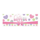 CUTE AS A BUTTON-GIRL GIANT PARTY BANNER