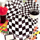 Creative Converting 010546405 Black Check Tablecover Paper