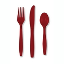 Partypro 013122 Burgundy Cutlery Combo Pack (24Ct)