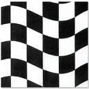 BLACK & WHITE CHECK BEVERAGE NAPKIN 18/P