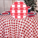 Partypro 84RDG 84In. Red Gingham Round Plastic Tblcover