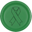 Partypro TQP-2044 Cancer Aware Green Ribbon Dinner Plate