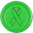 Partypro TQP-2074 Cancer Aware Lime Green Ribbon Dinner Plate