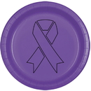 Partypro TQP-2094 Cancer Aware Purple Ribbon Dinner Plate