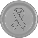 Partypro TQP-2124 Cancer Aware Silver Ribbon Dinner Plate