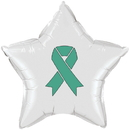 Partypro TQP-2133 Cancer Aware Teal Ribbon Mylar Balloon