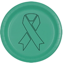 Partypro TQP-2134 Cancer Aware Teal Ribbon Dinner Plate