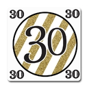 Partypro TQP-5671 Black And Gold 30Th Coaster