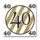 Partypro TQP-5672 Black And Gold 40Th Coaster