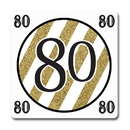 Partypro TQP-5676 Black And Gold 80Th Coaster