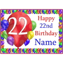 Partypro BANNER-PM22NDBB 22Nd Balloon Blast Customized Placemat