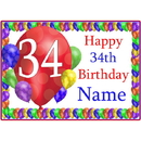 Partypro BANNER-PM34THBB 34Th Balloon Blast Customized Placemat