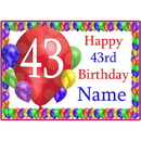 Partypro BANNER-PM43RDBB 43Rd Balloon Blast Customized Placemat