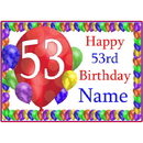 Partypro BANNER-PM53RDBB 53Rd Balloon Blast Customized Placemat
