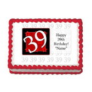 Partypro EDIBLE-39RED 39Th Birthday Red Edible Image