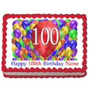 Partypro EDIBLE-BB100 100Th Birthday Balloon Blast Edible Imag