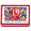 Partypro EDIBLE-BB19 19Th Birthday Balloon Blast Edible Image