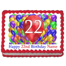 Partypro EDIBLE-BB22 22Nd Birthday Balloon Blast Edible Image