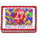 Partypro EDIBLE-BB27 27Th Birthday Balloon Blast Edible Image