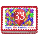 Partypro EDIBLE-BB33 33Rd Birthday Balloon Blast Edible Image