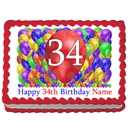 Partypro EDIBLE-BB34 34Th Birthday Balloon Blast Edible Image